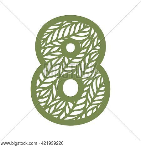 Number 8 (eight) With Leaf Pattern. Spring Or Summer Font With Floral Ornaments. Decorative Element