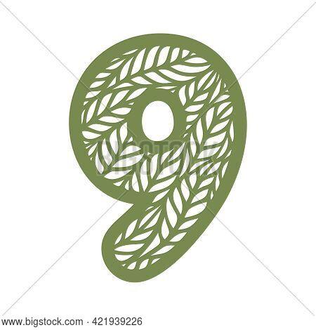 Number 9 (nine) With Leaf Pattern. Spring Or Summer Font With Floral Ornaments. Decorative Element F