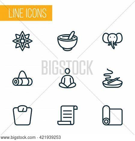 Yoga Icons Line Style Set With Meditation, Elephant, Manuscript And Other Bowl Elements. Isolated Ve