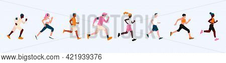 A Poster With A Group Of People With Different Skin Colors Running A Marathon. Active And Healthy Li