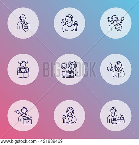 Job Icons Line Style Set With Firefighter, Fashion Designer, Director And Other Firewoman Elements.