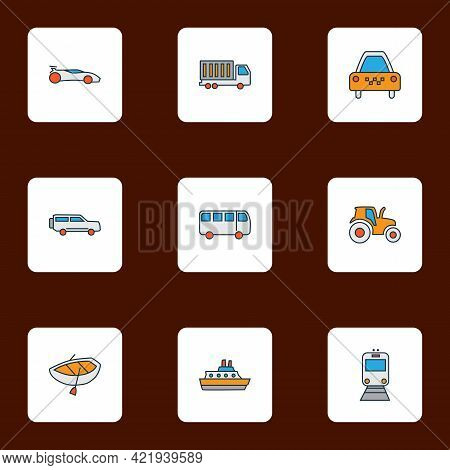 Vehicle Icons Colored Line Set With Boat, Truck, Sport Car And Other Streetcar Elements. Isolated Ve
