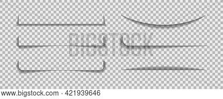 Shadow Lines Border. Page Line Divider For Design Web Page Or Paper Sheet On Transparent Background.