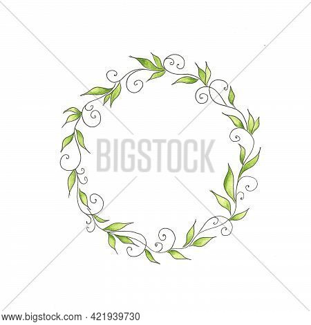 Delicate Botanical Wreath Of Green Leaves And Monograms. Spring Mood. Floral Design Elements. Waterc