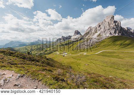Passo Giau, Dolomites, Italy. Beautiful Summer Mountain Landscape. High Alpine Road