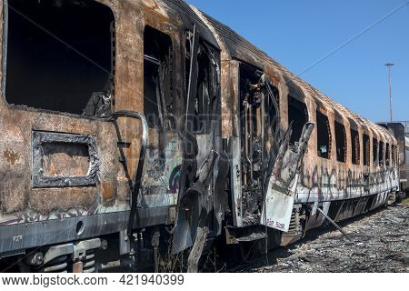 Abandoned Wagons Were Burned At The Railway Station In Thessaloniki.