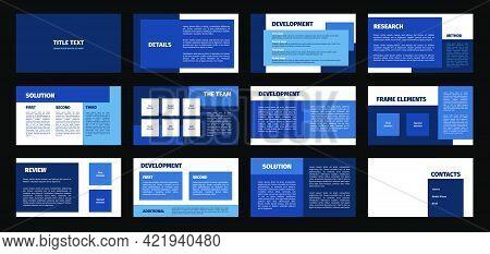 Presentation Template. Blue Rectangles Flat Design, White Background. 12 Slides. Title, Detail, Deve