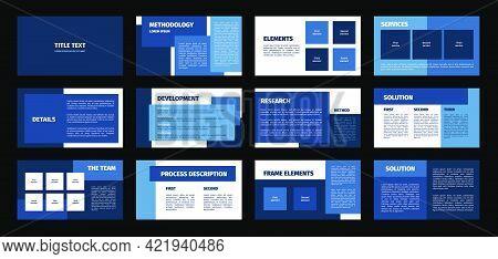Presentation Template. Blue Rectangles Flat Design, White Background. 12 Slides. Title, Methodology,