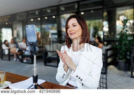 Modern Smartphone Gadget, Tripod Record Young Female Speaker, Coach Making Live Broadcast Internet,