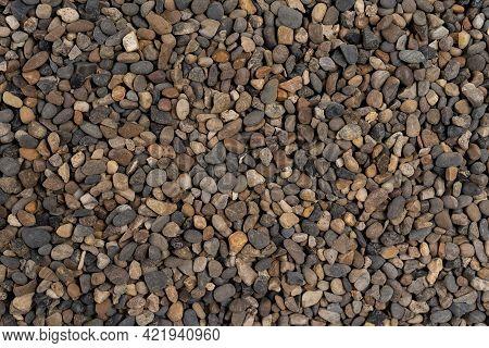 Various Pebble Stones Texture. Sea Pebbles. Background Of Pebbles. Multicolored Pebbles. Sea Pebbles