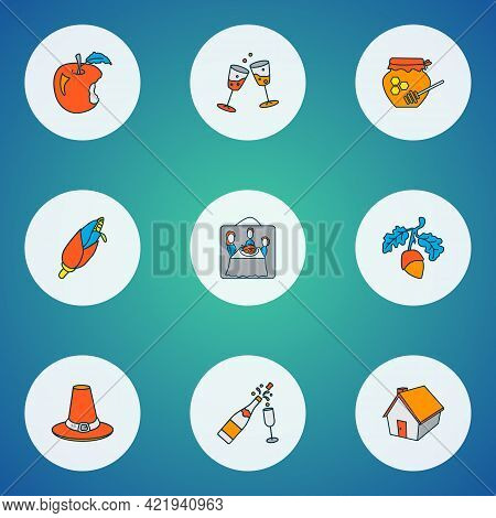 Thanksgiving Icons Colored Line Set With Thanksgiving Hat, Stemware, Acorn And Other Jonagold Elemen