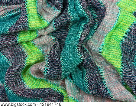Striped Knitted Cotton Fabric Matte Texture Top View. Colorful Stripes Knitwear Background. Fashion