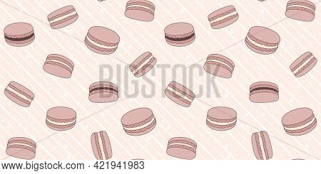 Chocolate Macaroons On A Pink Striped Background With Small Stars. Endless Texture With French Sweet