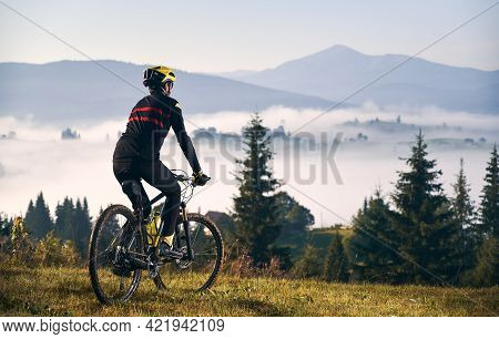 Back View Of Man In Cycling Suit Riding Bicycle On Grassy Hill. Male Bicyclist In Safety Helmet Enjo