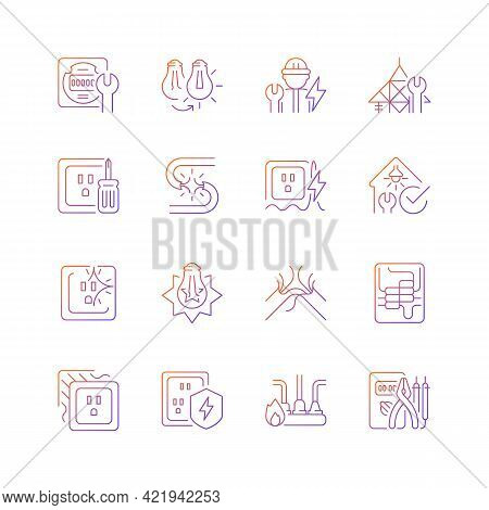 Electrician Service Gradient Linear Vector Icons Set. Changing Lightbulb. Operating With Electric De