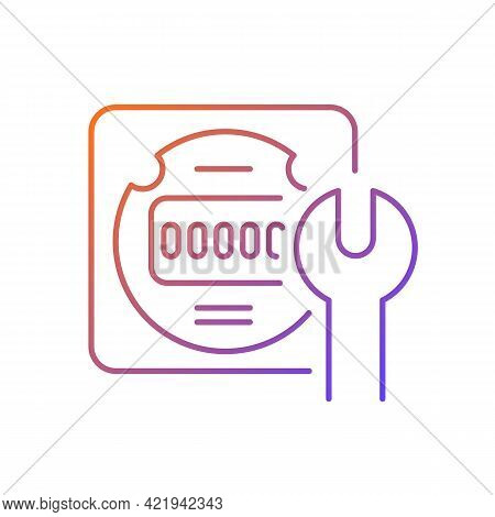 Electrical Meter Repair Gradient Linear Vector Icon. Clock-like Device Installation. Energy Meter Ma