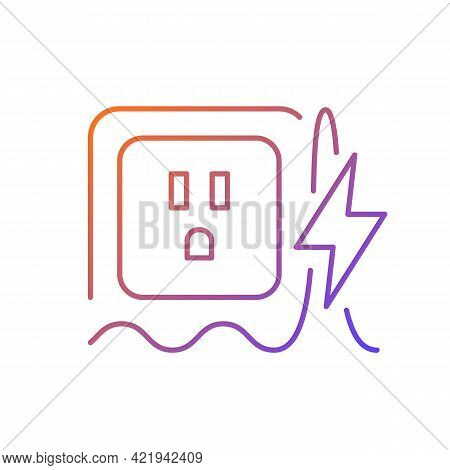Power Surge Gradient Linear Vector Icon. Brief Overvoltage Spikes. Unexpected Electricity Flow Inter
