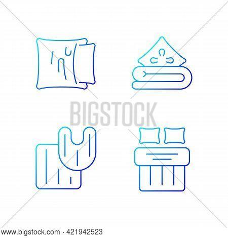 Domestic Textile Gradient Linear Vector Icons Set. Pillow Case. Linen Bedding. Bathroom Rugs. Bed Sh
