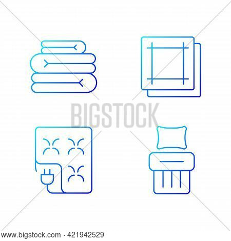 Household Textile Gradient Linear Vector Icons Set. Folded Sheets. Electric Blanket. Kitchen Napkins