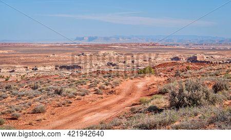 desert dirt road in San Rafael Swell area, Utah, off-road travel and recreation concept