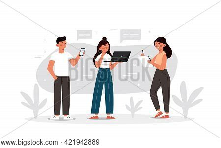 Digital Device Users Spending Time Together. People With A Computer, Tablet, And Smartphone. Vector