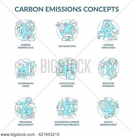 Carbon Emissions Concept Icons Set. Climate Change Idea Thin Line Color Illustrations. Supporting Co