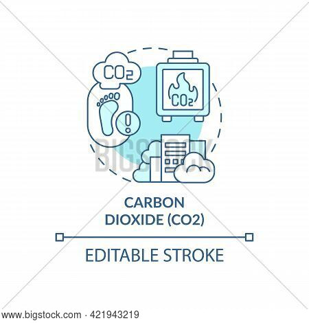 Carbon Dioxide Concept Icon. Greenhouse Gases Type Abstract Idea Thin Line Illustration. Burning, Co