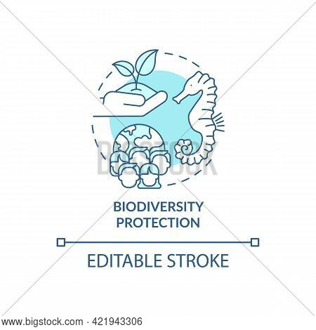Biodiversity Protection Concept Icon. Carbon Offsetting Abstract Idea Thin Line Illustration. Biodiv