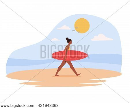 Black Woman In Swimwear Carrying Surfboard At The Beach, Walking On The Sand. Vector Illustration