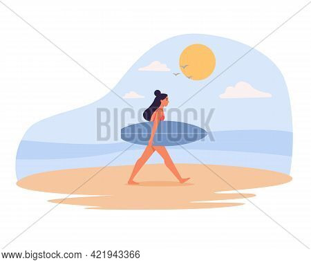 Woman In Swimwear Carrying Surfboard At The Beach, Walking On The Sand. Vector Illustration