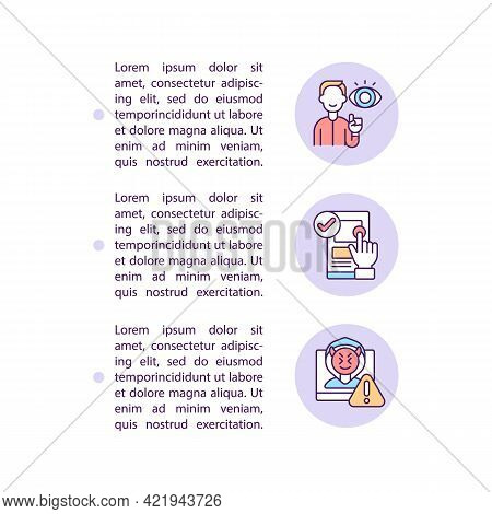 Cautious Posting And Sharing Online Concept Line Icons With Text. Ppt Page Vector Template With Copy