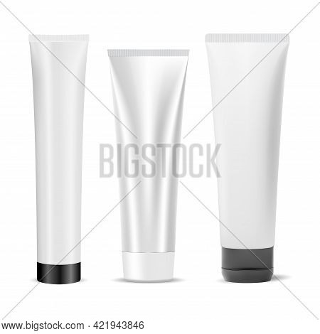 Cream Tube Mockup, Lotion Product Container Blank. Toothpaste Tube, 3d Vector. Face Skin Moisturizer