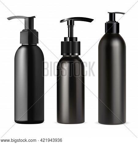 Black Pump Dispenser Bottle Mockup. Cosmetic Container, Plastic Pump Tube, Vector Template. Realisti