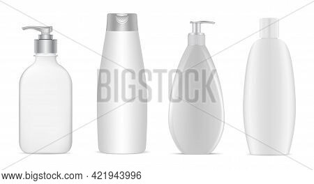 Cosmetic Bottle Package Mockup. Cosmetic Product Container, Skin Care Cream Tube, Hair Lotion, Shamp