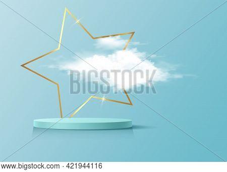 3d Platform Studio Display Minimal Scene, Gold Star Frame And Fluffy Cloud. Studio Blue Pedestal Flo