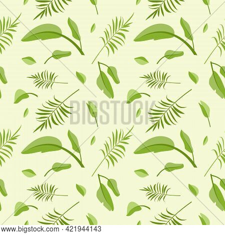 Cute Seamless Pattern From Green Palm Leaves. Spring Or Summer Print With Floral Patterns. Festive D