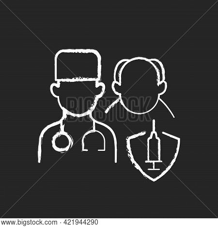 Vaccination Priority List Chalk White Icon On Black Background. Senior Patient With Doctor. Age Grou