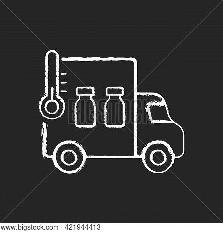 Vaccine Transportation Chalk White Icon On Black Background. Drug Distribution. Pharmaceutical Remed