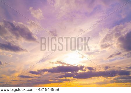 Beautiful Textured Sky With Clouds At Sunset