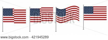 Usa Flag Vector Illustration Set.  American Flag National Sign Isolated.  Flag Of The United States.