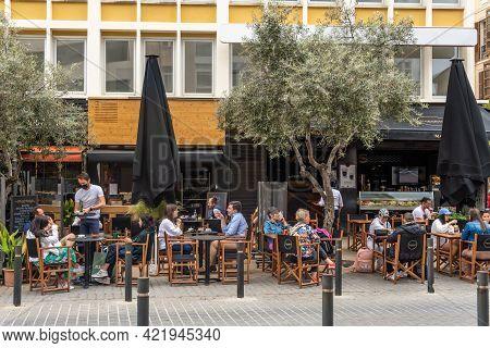 Palma De Mallorca, Spain; May 19 2021: Terrace Of A Cafeteria In The Historic Center Of Palma De Mal