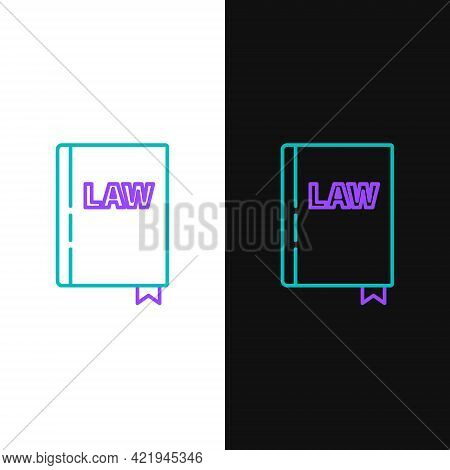 Line Law Book Icon Isolated On White And Black Background. Legal Judge Book. Judgment Concept. Color