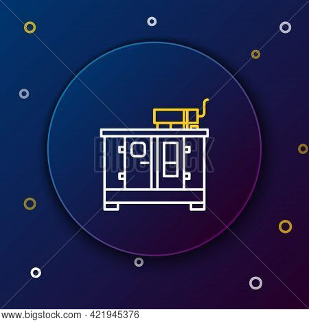 Line Diesel Power Generator Icon Isolated On Blue Background. Industrial And Home Immovable Power Ge