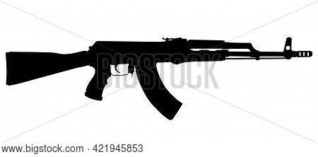 Vector Image Silhouette Of Modern Military Assault Rifle Symbol Illustration Isolated On White Backg