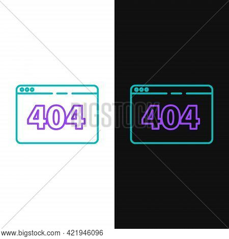 Line Page With A 404 Error Icon Isolated On White And Black Background. Template Reports That The Pa