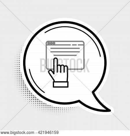 Line Online Shopping On Screen Icon Isolated On Grey Background. Concept E-commerce, E-business, Onl