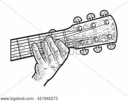 Playing Guitar Chord Line Art Sketch Engraving Vector Illustration. T-shirt Apparel Print Design. Sc