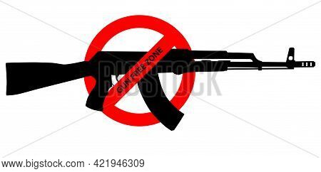 Caution Sign About Gun Control. Restricted Area, Guns Banned. Vector Image Silhouette, Illustration