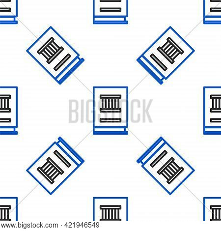 Line Law Book Icon Isolated Seamless Pattern On White Background. Legal Judge Book. Judgment Concept