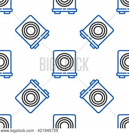 Line Electric Stove Icon Isolated Seamless Pattern On White Background. Cooktop Sign. Hob With Four